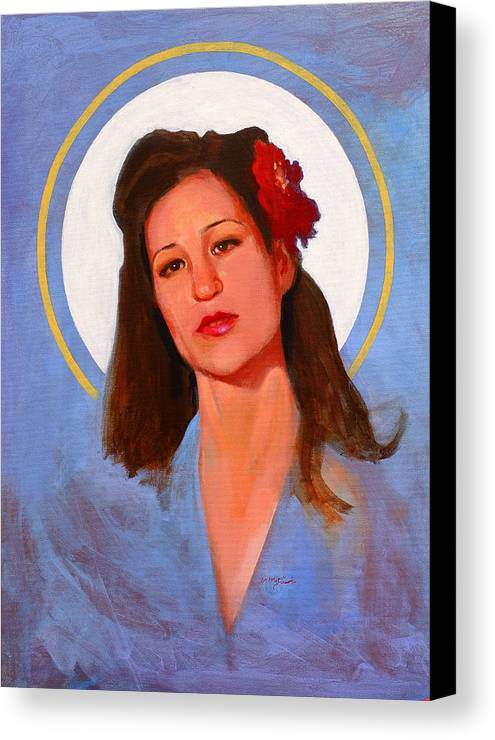 Portrait Canvas Print featuring the painting Renee 1940 by John Tartaglione