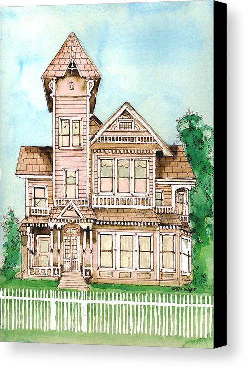 Victorian Inn Canvas Print featuring the painting Rose Victorian Inn - Arroyo Grande Ca 1886 by Arline Wagner