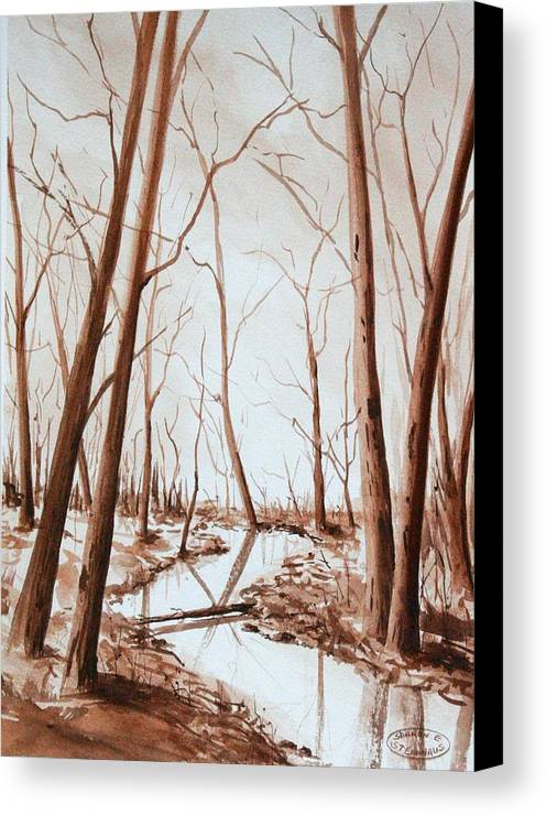 Sepia Watercolour Of Trees Canvas Print featuring the painting Rotary Bog by Sharon Steinhaus