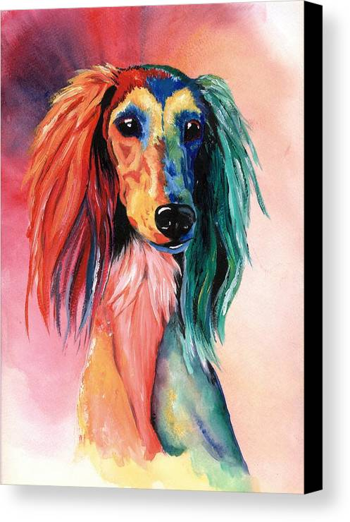Saluki Canvas Print featuring the painting Saluki Sunset by Kathleen Sepulveda