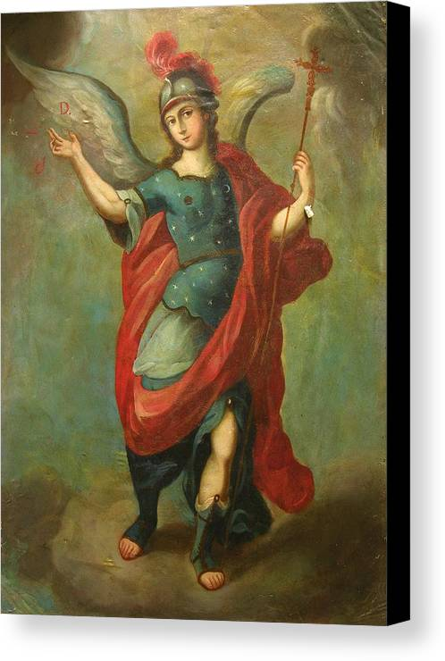 Religion Canvas Print featuring the painting San Miguel Arcangel by Unknown