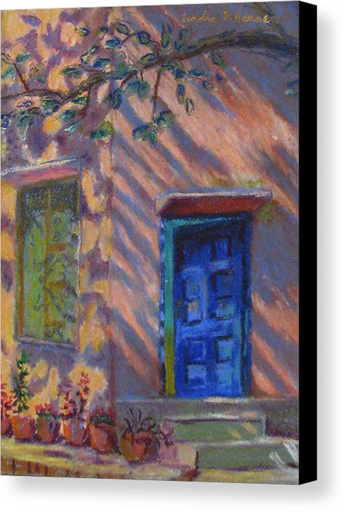 Landscape Canvas Print featuring the painting School Room Door Varanasi India by Art Nomad Sandra Hansen