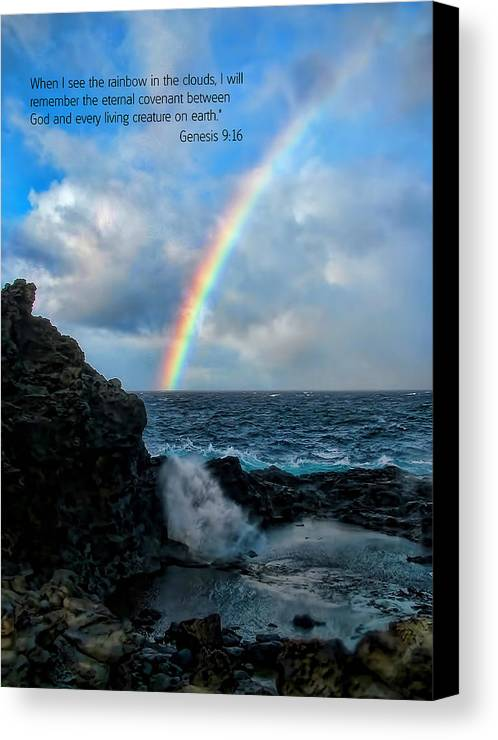 Scripture And Picture Genesis 9:16 Canvas Print featuring the photograph Scripture And Picture Genesis 9 16 by Ken Smith