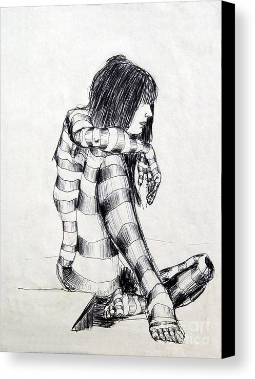 Ink Drawing Canvas Print featuring the drawing Seated Striped Nude by Ron Bissett