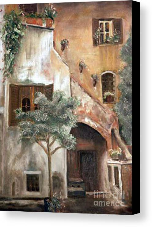 Building Canvas Print featuring the painting Secret Garden by CJ Rider