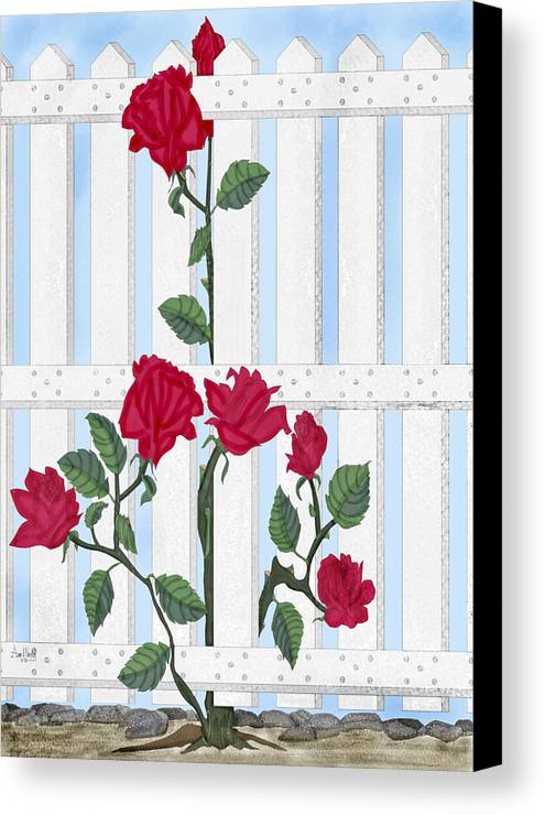 Roses Canvas Print featuring the painting Seven Roses For Mary by Anne Norskog