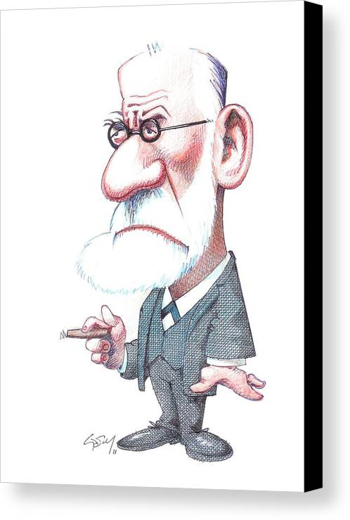 Portrait Canvas Print featuring the photograph Sigmund Freud, Caricature by Gary Brown