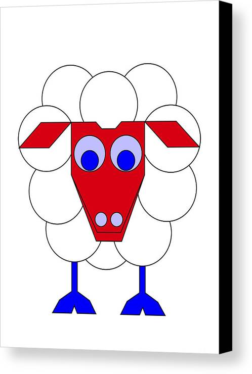 Sleep-sheep Canvas Print featuring the digital art Sleep-sheep by Asbjorn Lonvig