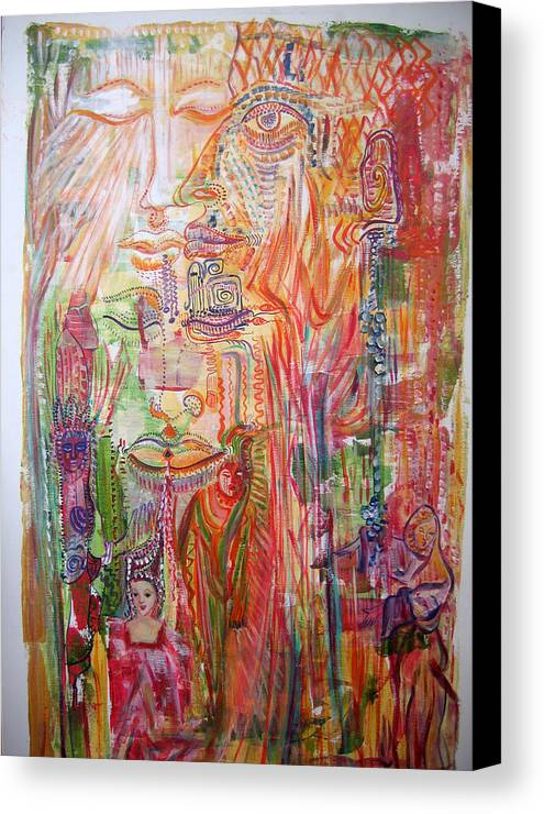 Past Lifes Canvas Print featuring the painting Souvenirs by Helene Champaloux-Saraswati