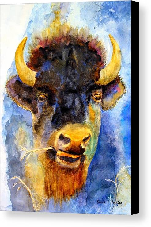Animal Canvas Print featuring the painting Spirit Buffalo by David Horning