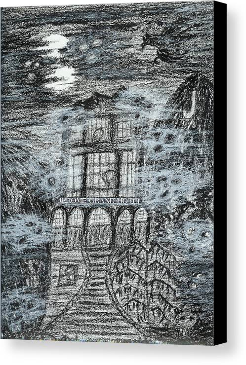 Canvas Print featuring the drawing Spirit World At Jerome Grand Hotel Jerome Az by Ingrid Szabo