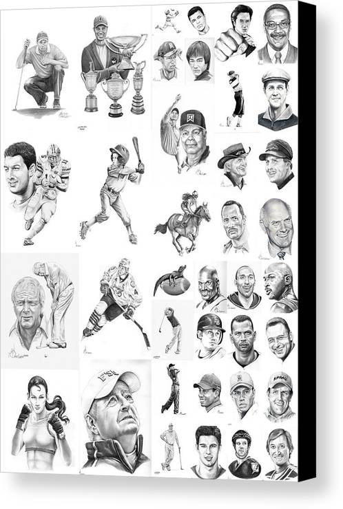 Pencil Canvas Print featuring the drawing Sports Figures Collage by Murphy Elliott