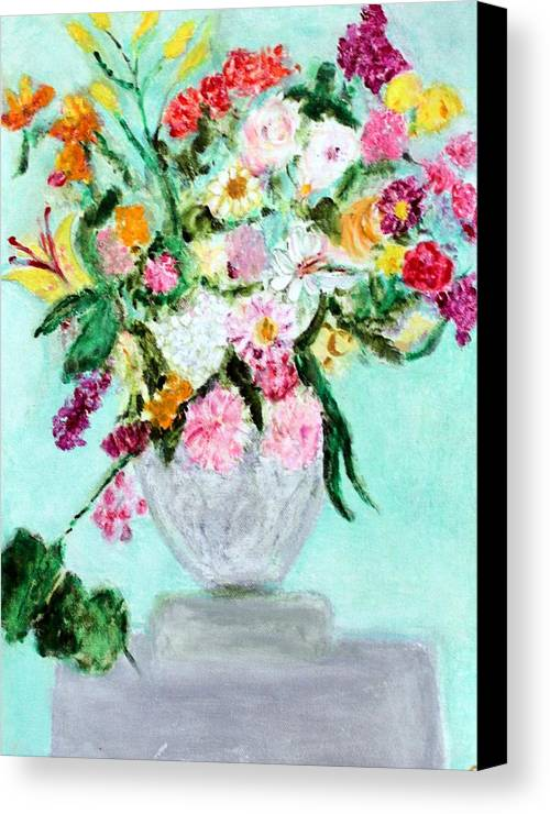 Still Life Canvas Print featuring the painting Spring Bouquet by Michela Akers