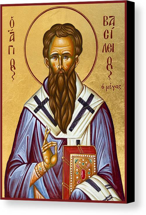Icon Canvas Print featuring the painting St Basil The Great by Julia Bridget Hayes