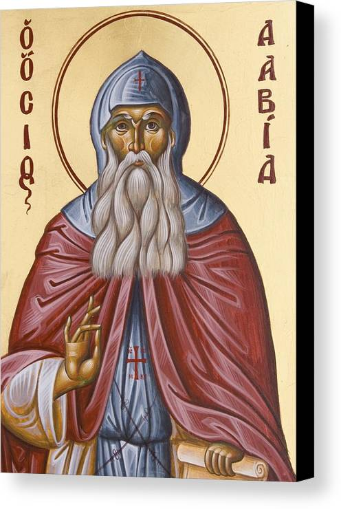 Icon Canvas Print featuring the painting St David Of Evia by Julia Bridget Hayes