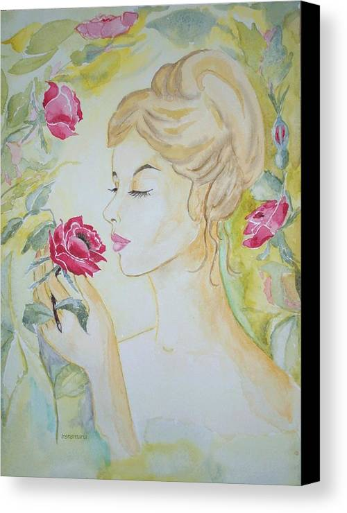 Roses Flowers Canvas Print featuring the painting Stop And Smell The Roses by Irenemaria Amoroso