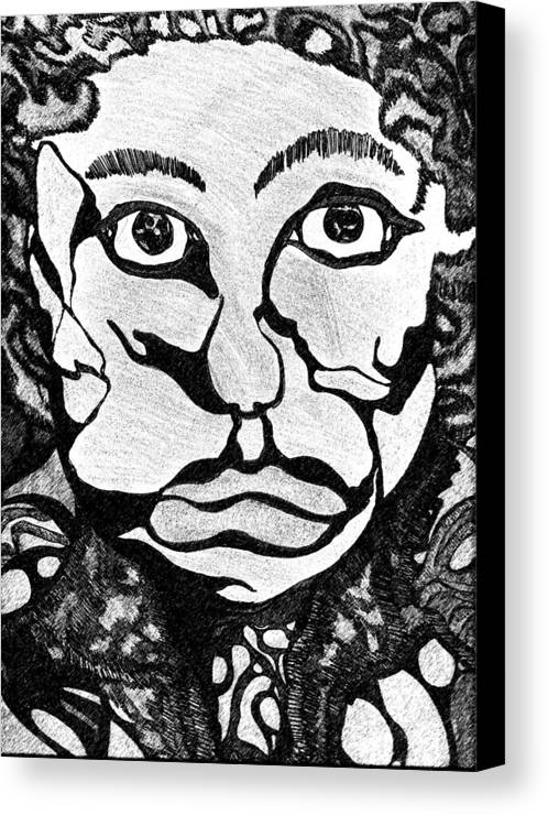 Abstract Canvas Print featuring the drawing Strange Man by Jessica Morgan