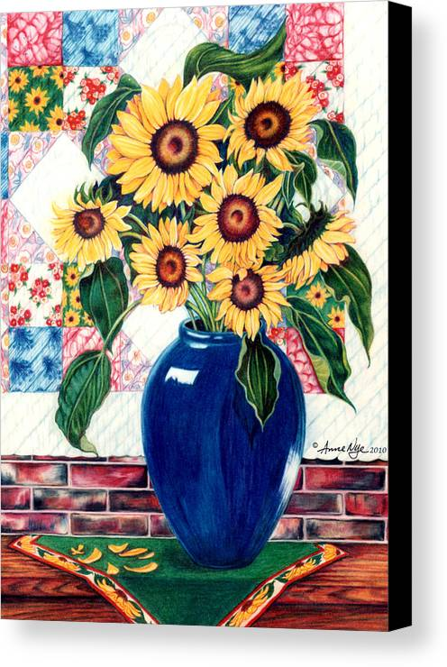 Sunflowers Canvas Print featuring the drawing Sunflower Quilt by Anne Nye