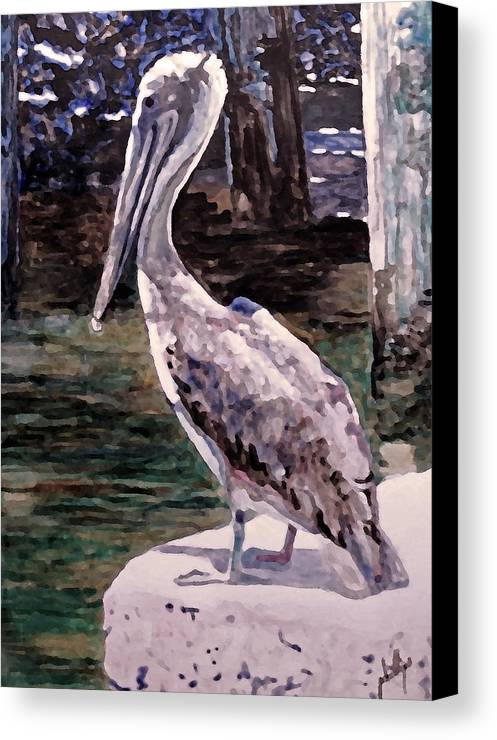 Pelican Canvas Print featuring the painting Taking A Break by Jim Phillips