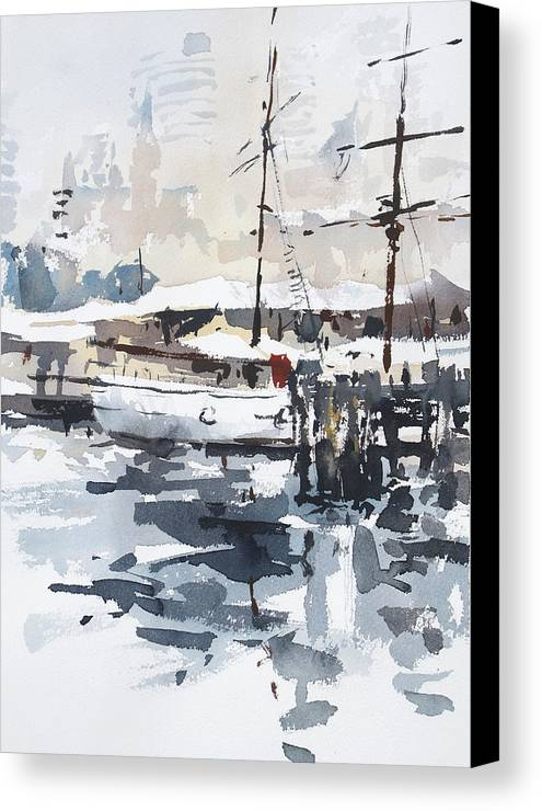 Tallship Canvas Print featuring the painting Tall Ship In Sydney Harbour by Tony Belobrajdic