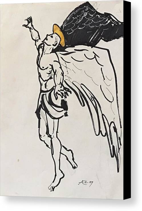 Canvas Print featuring the drawing The Angel by Alejandro Lopez-Tasso