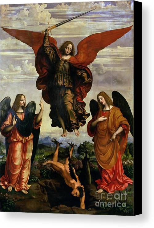 The Canvas Print featuring the painting The Archangels Triumphing Over Lucifer by Marco DOggiono