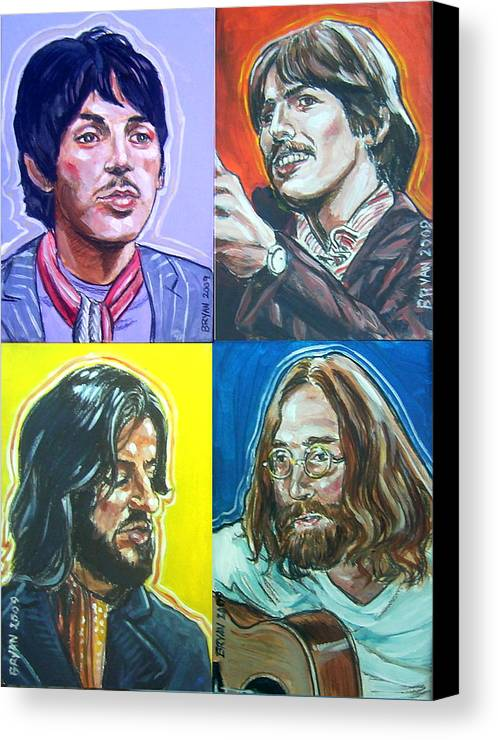 The Beatles Canvas Print featuring the painting The Beatles - Montage by Bryan Bustard