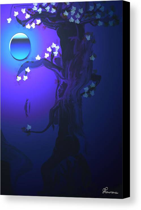 Tree Moon Spider Leaves Blue Feelings Lonely Drawing Dark Canvas Print featuring the digital art The Keeper by Andrea Lawrence