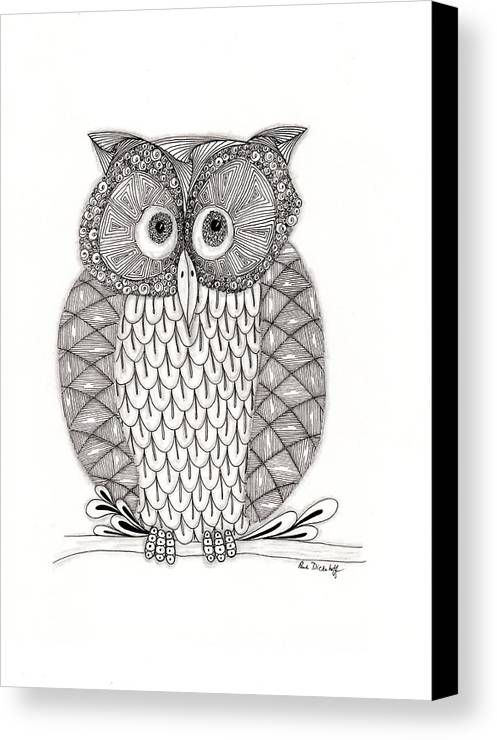 Owl Canvas Print featuring the drawing The Owl's Who by Paula Dickerhoff