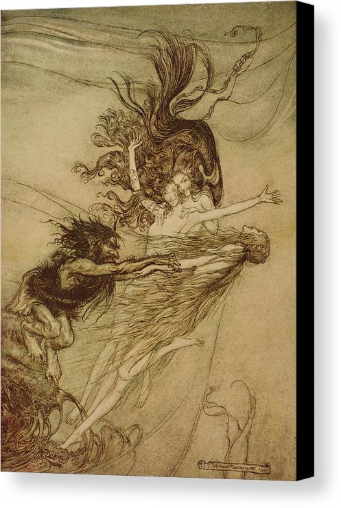 the Rhinemaidens Teasing Alberich From 'the Rhinegold And The Valkyrie' By Richard Wagner Canvas Print featuring the drawing The Rhinemaidens Teasing Alberich by Arthur Rackham