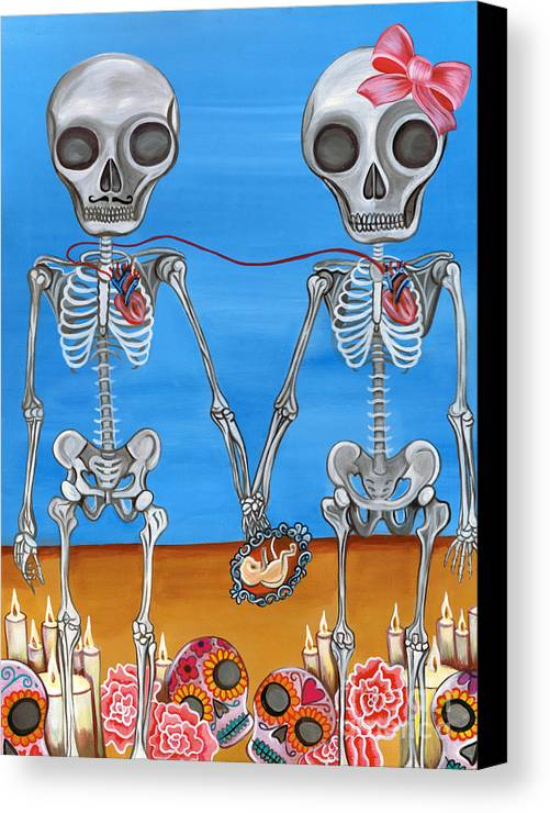 Blue Canvas Print featuring the painting The Two Skeletons by Jaz Higgins
