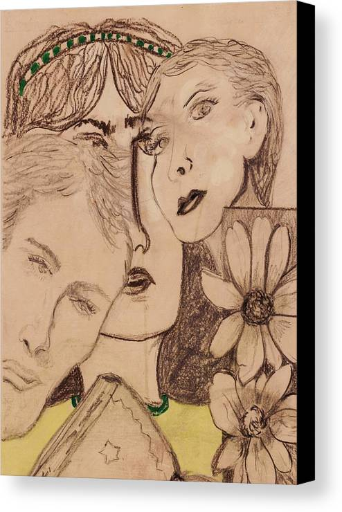 Faces Canvas Print featuring the drawing Three Faces by JuneFelicia Bennett