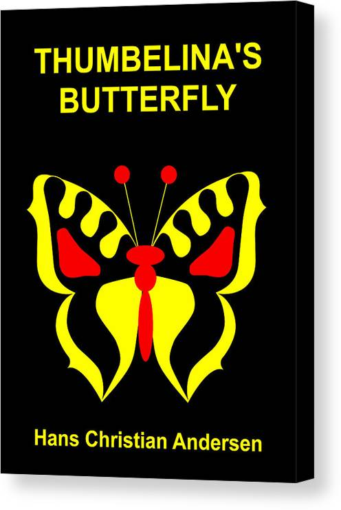 Thumbelina Canvas Print featuring the digital art Thumbelina's Butterfly - Hans Christian Andersen by Asbjorn Lonvig