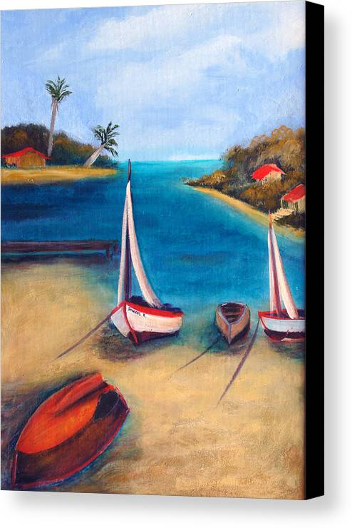 Red Boat Canvas Print featuring the painting Time Out by Darlene Green