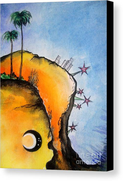 Time Canvas Print featuring the painting Time Travel Is Possible. Irrational Space by Sofia Metal Queen