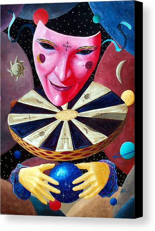 Face Canvas Print featuring the painting Timekeeper by Daniel Bergren