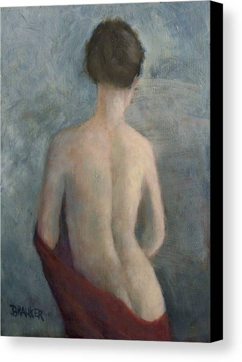 Nude Portrait Brauker Canvas Print featuring the painting Tina by Bill Brauker