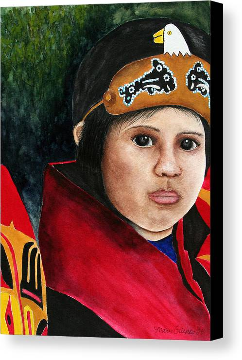 Native Canvas Print featuring the painting Tinglit Native Girl by Mary Gaines