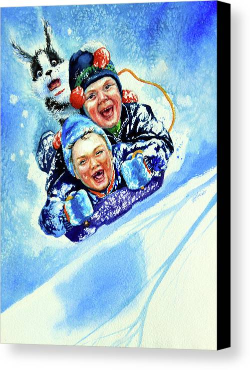 Children Playing Canvas Print featuring the painting Toboggan Terrors by Hanne Lore Koehler