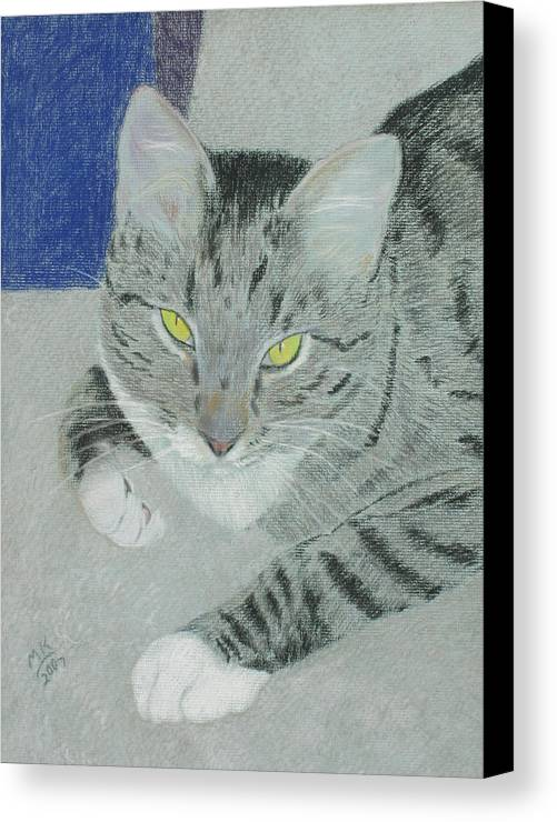 Tabby Cat Canvas Print featuring the painting Tom Bombadil by Miriam A Kilmer
