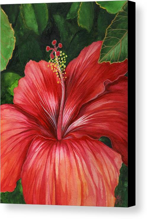 Hibiscus Canvas Print featuring the painting Tropic Fire by Carrie Auwaerter