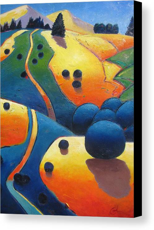 California Hills Canvas Print featuring the painting Uphill Climb Revisited. by Gary Coleman