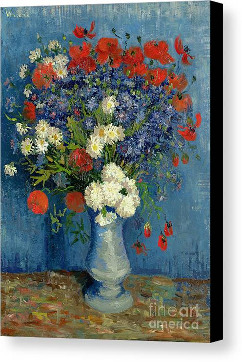 Still Canvas Print featuring the painting Vase With Cornflowers And Poppies by Vincent Van Gogh