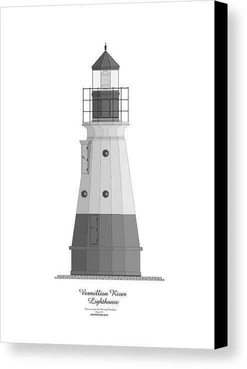 Lighthouse Canvas Print featuring the painting Vermillion River Lighthouse Architectural Rendering by Anne Norskog