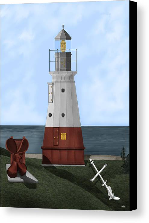 Lighthouse Canvas Print featuring the painting Vermillion River Lighthouse On Lake Erie by Anne Norskog