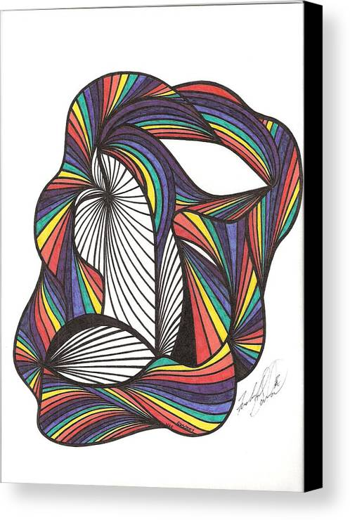 Abstract Canvas Print featuring the drawing WAE by Freda Garland