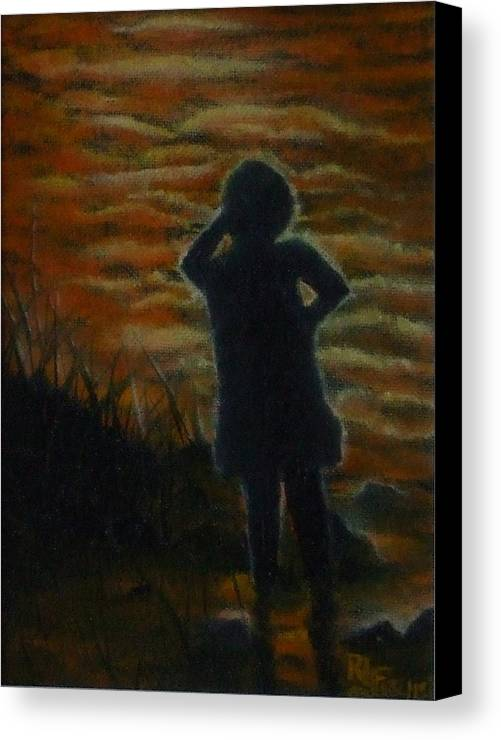 Water Canvas Print featuring the painting Watching by Rebecca Fitchett