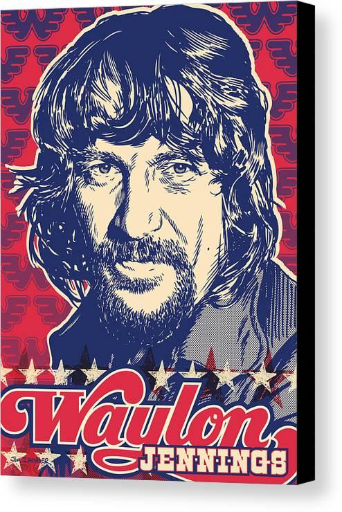 Outlaw Canvas Print featuring the digital art Waylon Jennings Pop Art by Jim Zahniser