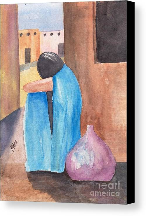 Southwest Canvas Print featuring the painting Weeping Woman by Susan Kubes