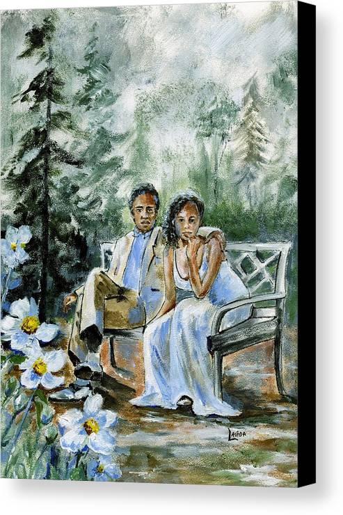 Man And Woman In The Forest Canvas Print featuring the painting Where The Grass Is Green by Janet Lavida